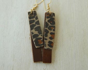 Animal print leather earrings with, boho chic earrings, handmade jewelry, long leather earrings, summer jewelry, leopard print leather