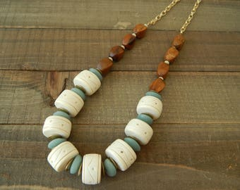 Large white wood rondels with recycled blue glass and brown wood, statement necklace, glass and wood, festival chic, boho necklace