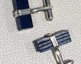 Lapis Lazuli  925 cuff links carved block