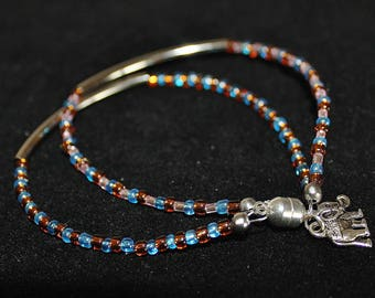 Double bangle bracelet w/elephant charm