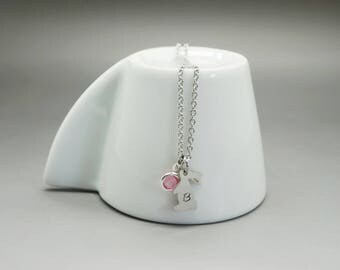 Necklace engraved birthstone - mother daughter Bunny child swarovski