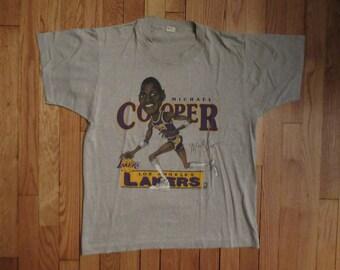 Vintage NBA Los Angeles Lakers Michael Cooper RARE Caricature cartoon T Shirt L