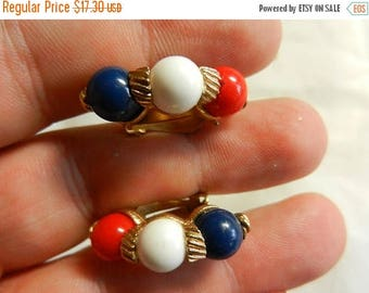 Summer Sale Vintage Marvella Red White and Blue Clip On Earrings Signed