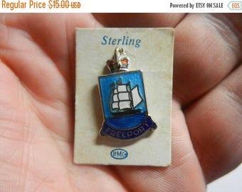 Summer Sale Vintage Sterling Silver Freeport Bahamas Enamel Charm still on card