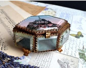 25% SALE Antique French Bevelled Ormolu Mont Saint Michel Souvenir Box Casket Glass Case