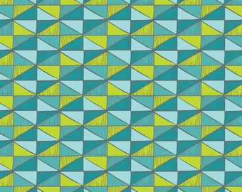 Triangles fabric in Bali Turquoise and Lime Green from the Sea Life Collection by Heather Rosas for Camelot Fabrics # 6141305-1