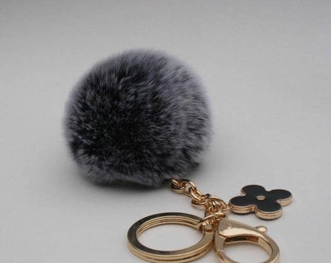 Pom-Perfect Black frosted REX Rabbit fur pom pom ball with black flower keychain