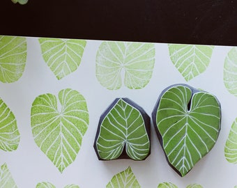 Tropical leaf hand carved rubber stamps.philodendron gloriosum leaf stamp.set of 2