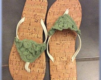 Clearance Sale Ladies Flip Flops, Crocheted Flip Flop Embellishment, Summer Shoes