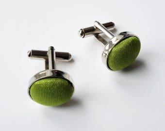 Lime Green Fabric Cufflinks, Wedding Cufflinks