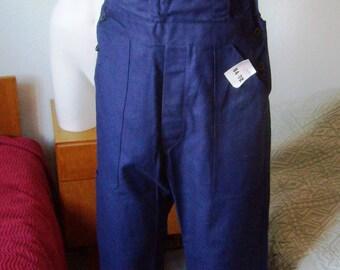 VTG 60s, French, work overalls, Suspender bib, blue indigo, french workwear, Sanfor, size S/M