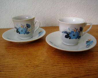 Set of 2 coffee cups / espresso, pattern blue flowers, Chinese porcelain, 1970