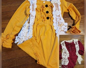 Girls fall ruffle dresses thanksgiving dress wine ruffle mustard dress