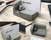Concrete Business Card Holder with Steel Ball and Magnet