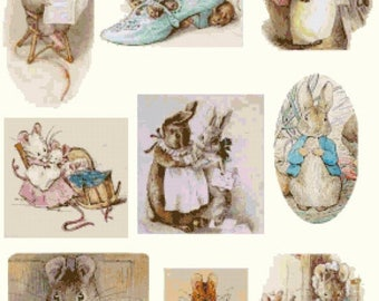 """nine scenes with characters by potter - counted Cross Stitch Pattern needlepoint kreuzstitch - 20.71"""" x 25.36""""  - L1147"""