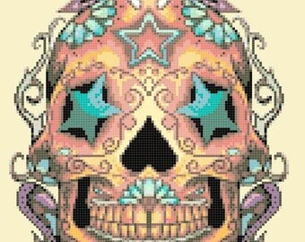 "sugar skull Counted Cross Stitch sugar skull Pattern pdf file ristipisto kuvio needlepoint korss - 8.64"" x 12.00"" - L1385"