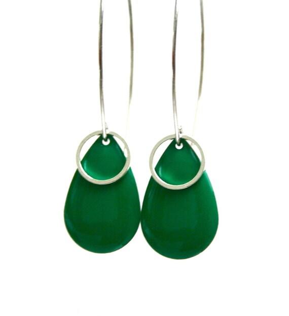 Sequins large rings drop earrings emerald green design hooks