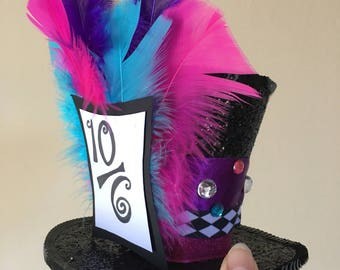 Mad Hatter Hat - Mini Top Hat - Mad Hatter Costume - Beyond Wonderland Rave hat