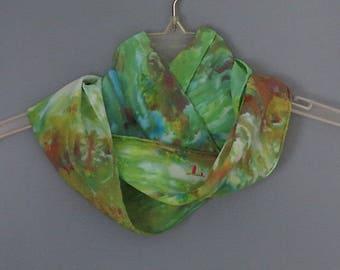 Green scarf, silk scarf, hand dyed silk, crepe de chine silk accessory, floral scarf