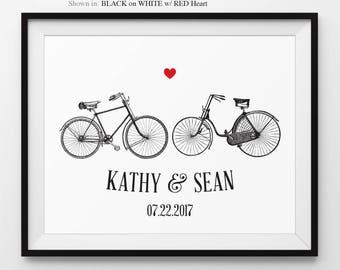 Anniversary Gift Wedding Anniversary Bicycle Art Print Anniversary Print Bicycles Anniversary Customize Engagement Wedding Gift Anniversary