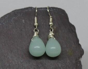 Chalcedony earrings, aqua chalcedony earrings, aqua earrings, briolette earrings, chalcedony drop, statement earrings, aqua earrings.