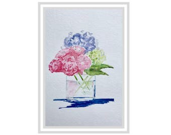 blue and green hydrangea, flowers in vase, pink roses and blue hydrangea , original watercolor, fine art, watercolor flowers