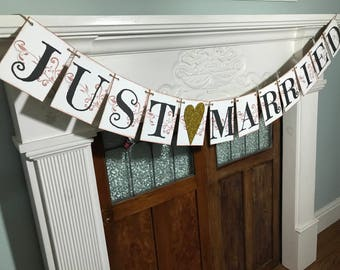 Rustic Wedding Banner - Just Married Banner - Wedding Sign - Engagement Party Decorations - Wedding Photo Prop