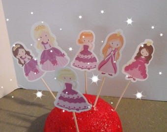 Prince ...Princess... Cupcake Toppers...Fairytales... Birthday...Children's...Set of 12... Choice of one side or two sided pick