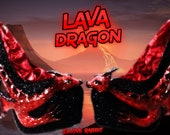 Lava Dragon Heels Scales Custom Hand Sculpt Paint Red Black Shoe Size 3 4 5 6 7 8  High Platform Monster Kraken octopus Wings Winged elusive