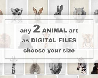 Choose any 2 ANIMAL arts from my shop PinkeeArt and turn into digital files