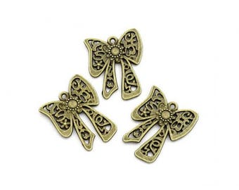 30 Bronze bow charms