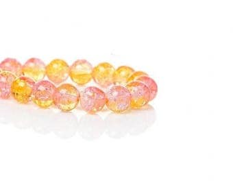 100 cracked beads 8mm yellow and pink