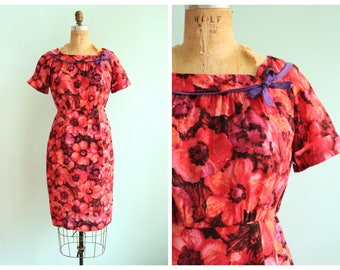 Vintage 1960's Pink and Purple Floral Dress | Size Small