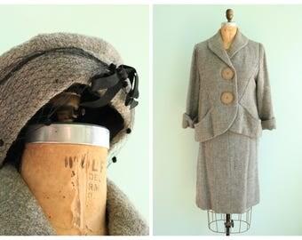 Vintage 1950's Grey Bouclé Skirt Suit | Size Small