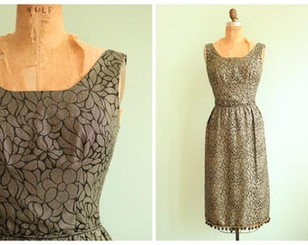 Vintage 1960's Gold Floral Brocade Dress | Size Small