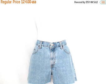 Vintage Levi's Jean Shorts 90's Cutoff Frayed Denim Shorts Levi's Guys Fit Size 8 Blue Jean Shorts Worn In Mid Rise Distressed Denim Shorts