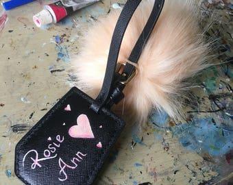 Custom design, luggage tag with giant Pom Pom