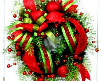 Red and green Christmas wreath, Christmas wreath, Red lime wreath, Traditional Christmas wreath, red green wreath, front door wreath, XL