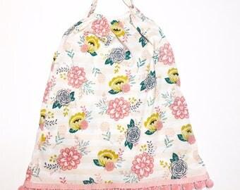 Knit Floral Dress with Pink Pom Poms