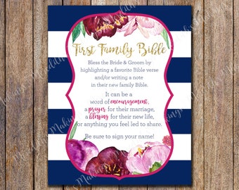 Bridal Shower First Family Bible Printable, First Family Bible shower game, Wedding Family Bible Sign, Highlight a Bible Verse Sign