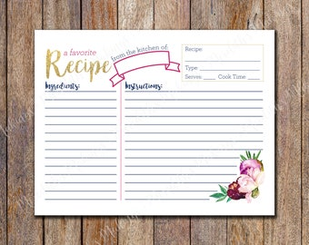 Bridal Shower Recipe Card Printable, Floral Recipe Card, Gold Glitter Floral Recipe Card, 4 to a page Recipe Cards