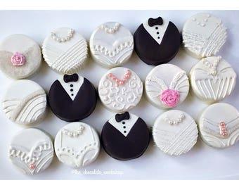 Wedding Oreos - Bride & Groom Favors, Bridal Shower Oreos, Wedding Favors, Engagement Party, Bachelorette Oreos