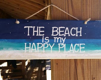 """Rustic """"The Beach is my Happy Place"""" Hand painted Wooden Sign (Beach house salty decor)"""