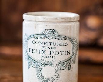 1920s French Stoneware Jam Pot - Felix Potin - Confitures Fines - Paris - Lunéville - Free Shipping Within the USA