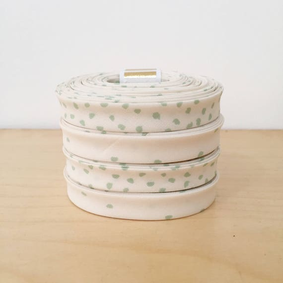 """Organic Cotton Bias Tape in Hello Ollie Mint Green and Cream Polka Dot 1/2"""" double-fold binding- Nested in Roots- 3 yard roll"""