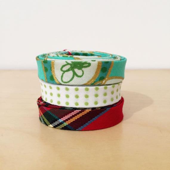 "Bias Tape 1-yard Holiday Sampler Pack 1/2"" double-fold cotton binding- 3 different Christmas fabrics"