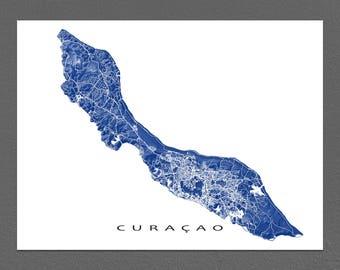 Curacao Map Print, Curacao Wall Art, Caribbean Island Maps