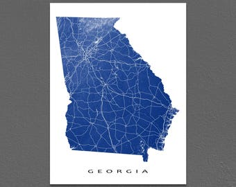 Georgia Map, Georgia State Art Print, USA, Savannah, Atlanta