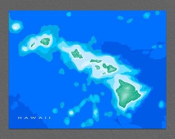 Hawaii Map Print, Hawaiian Islands Art, Maui, Oahu, Kauai