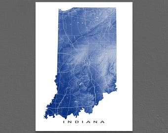 Indiana Map, Indiana Art Print, IN State Artwork, USA Wall Decor